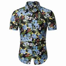Hip hop Mens Shirt Floral Short Sleeve Hawaiian Shirts Men Flower Blouse clothing Summer New
