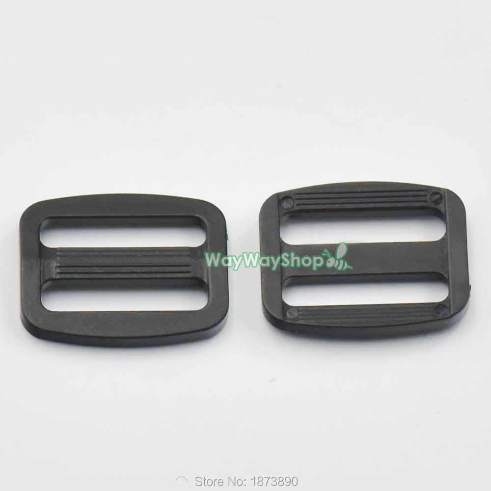 "100 pcs 1 ""25mm & 3/4"" 19mm Ajustador Webbing Triglides Lâminas para pulseira de Couro Fivela de Cinto Plástico preto"