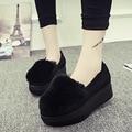 Повседневная плюшевые женская обувь 2016 осень и зима толстые плюшевые обувь кролик Мао Songtong плоские ленивый обувь обувь в2