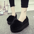 Casual plush women's shoes 2016 autumn and winter thick plush shoes rabbit Mao Songtong flat lazy shoes shoes b2