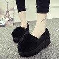 Felpa casuales zapatos de las mujeres 2016 otoño y el invierno de espesor zapatos de la felpa conejo Mao Songtong plana zapatos perezosos zapatos b2