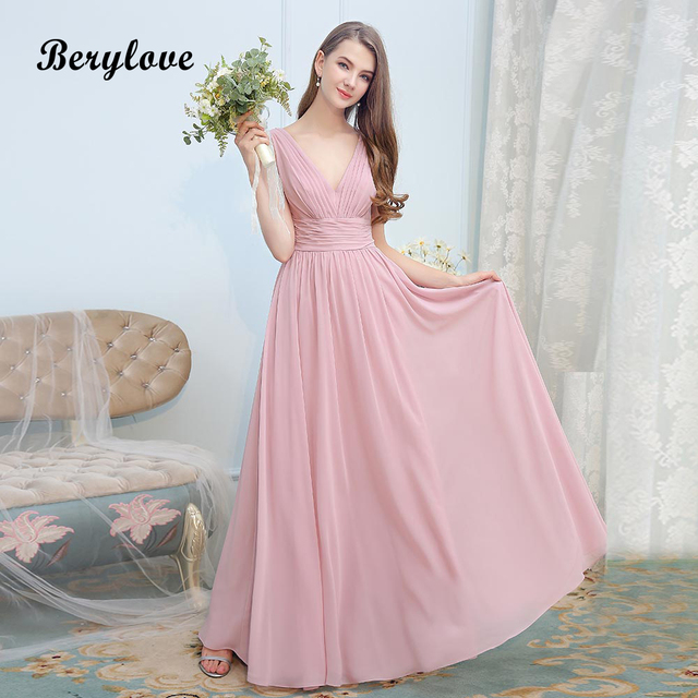 BeryLove Simple Dirty Pink Chiffon Evening Dresses Long Deep V Neck Prom  Dresses 2018 Formal Evening Dress Party Gowns For Prom 603899744923
