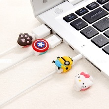 Cartoon Charger Cable Winder Protective Case Saver Data line Protector Earphone Cord Protection Sleeve Wire Cover 10pcs usb cable protector saver earphone cord protection wire cover 8pin data charger line protective sleeve for iphone 7 8 plus