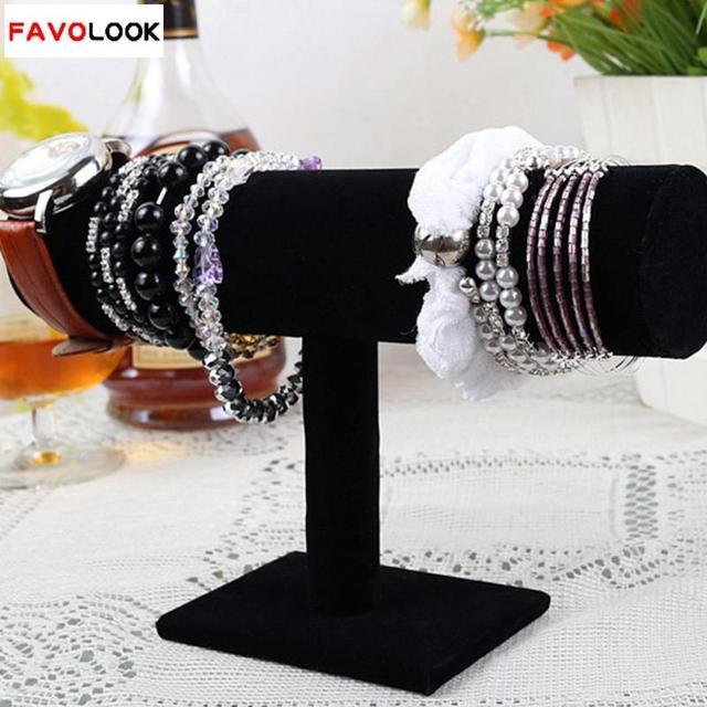 Black Velvet Bracelet Chain Watch T-Bar Rack Jewelry Hard Display Stand Holder Jewelry Organizer