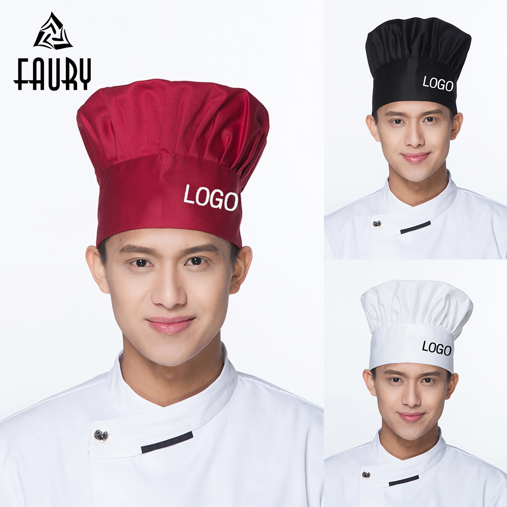 10Pcs/Lot DIY Embroidery Printing Customize LOGO Restaurant Kitchen Chef Cook Hats Waiter Workwear BBQ Mushroom Caps Wholesale