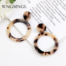 WNGMNGL New Fashion Simple Shaped Resin Leopard Earring Acetate Earrings Exaggerated Brown Acrylic Earrings For Women Jewelry цены