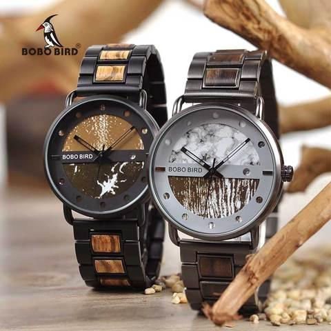 Saat erkek Wooden Watches Men Wristwatch Quartz Clock BOBO BIRD Show date Gift in Wood Box in Wood Box Customize Logo Islamabad