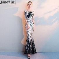 JaneVini New Mermaid Half Sleeve Mother of The Bride Dresses Shiny Black Sequin Godmother Long Evening Women Wedding Party Dress