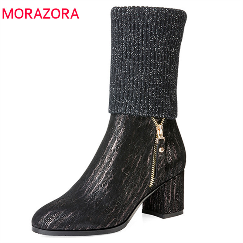 MORAZORA 2018 top quality genuine leather boots women zipper fashion high heels shoes autumn winter Stretch socks ankle boots MORAZORA 2018 top quality genuine leather boots women zipper fashion high heels shoes autumn winter Stretch socks ankle boots