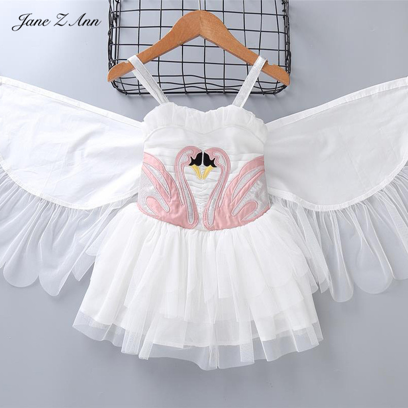Jane Z Ann Girl Summer dress Flamingo baby kids Removable Angel Wings dresses infant kids dancing photo swan dress Party garment the garment slinky jane