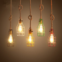 Colorful Industrial Vintage Pendant Lights Hemp Rope Birdcage Loft Pendant Lamp Hanglamp Fixture For Home Lightings