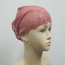 Размеры 25*31 см мусульманин внутренний шляпа Кружево под шарф хиджаб капот Кепки Головные уборы Исламская тюрбан под трубки
