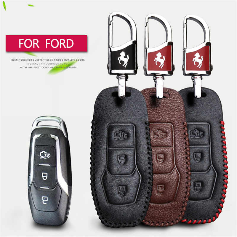 Funda de llave de control remoto para coche para Ford Mondeo 3 4 MK3 MK4 Edeg Mustang Fiesta Focus 3 mk2 mk3 Kuga Funda de cuero genuino para llave de coche