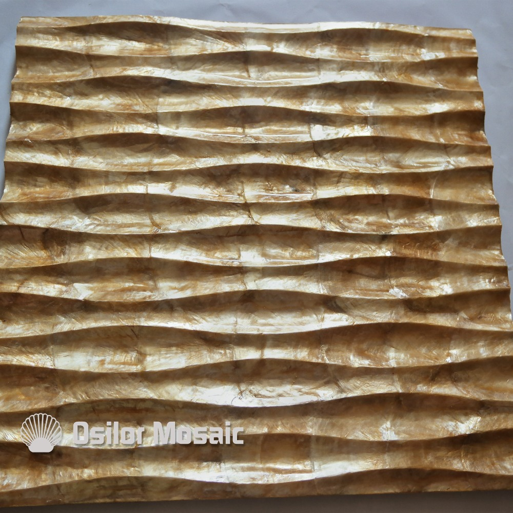 natural golden color handcrafted capiz shell tile decorative board for living room decoration or ceiling decoration white color natural 100% capiz shell mother of pearl mosaic tile for living room or ceiling