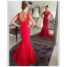 2016 schöne Memraid V-ausschnitt Red prom Kleid mit Applqiues Lange Abendkleid Benutzerdefinierte vestido de festa gala jurken