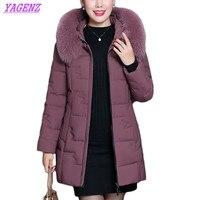 Женский пуховик для отдыха среднего возраста, хлопковая куртка, зимние теплые куртки пальто, женская верхняя одежда с капюшоном и меховым в