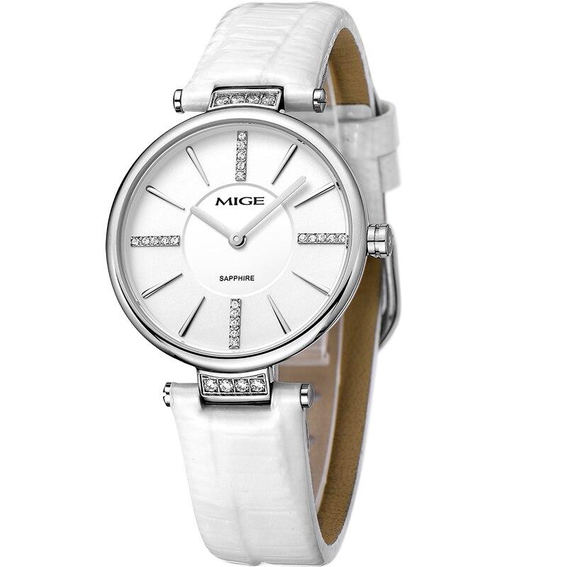 Миже 2017 распродажа Бесплатная доставка Бренд Повседневное женские часы красный, белый кожаный тонкий Quatrz женский часы Водонепроницаемый Д