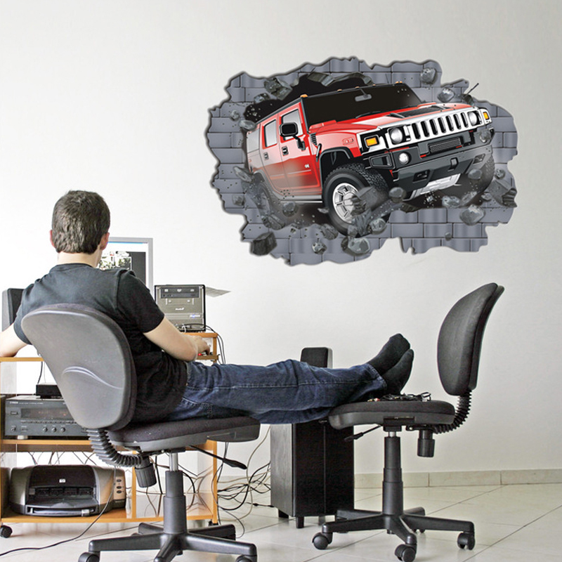 3D wallpaper Large size fake window Car crash Land Rover Hummer creative decorative wall stickers Bedroom Living room Murals