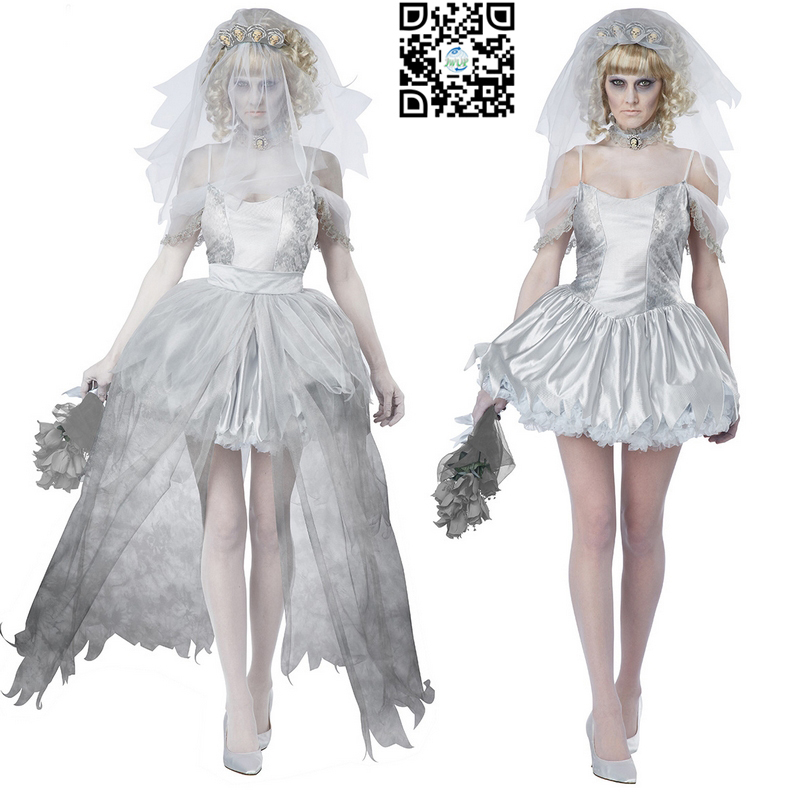 new arrival cheap white scary halloween costumes for girls ghost bride costume cosplay for party free shipping in scary costumes from novelty special use - Cheap Creepy Halloween Costumes