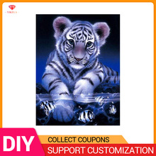 YIKELA 5D Diy Tiger Catching Fish Diamond Painting of Full Round/Square Crystal Mosaic Cross Stitch Embroidery
