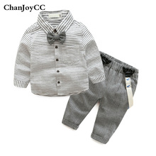 Baby Boys Gentleman Set Spring Autumn New Fashion Kids High Quality Striped Shirt+Pant Two-piece Suit Children Clothing