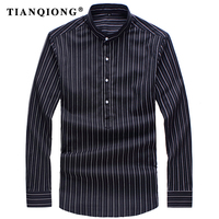 TIAN QIONG Brand 2018 New Spring High Quality Men Shirt Long Sleeved Classical Solid Striped Casual
