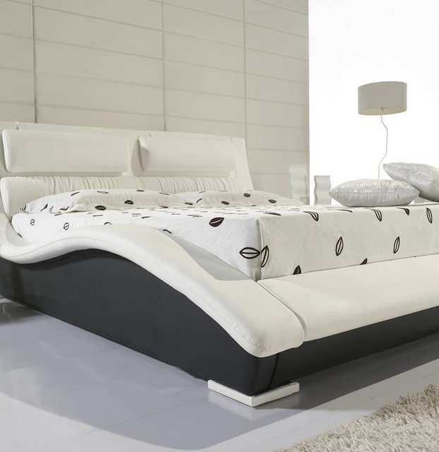 Designer Modern Real Genuine Leather Bed / Soft Bed/double Bed King/queen  Size Bedroom Home Furniture Post Modern White Color