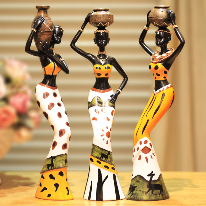 1Set Modern Africa resin doll Carving Handicraft Figurines Miniatures resin Desktop Crafts home decoration accessories in Figurines Miniatures from Home Garden