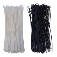 250pcs 400 X 0 5mm White Black Plastic Nylon Self Locking Fixed Cable Tie Zip For