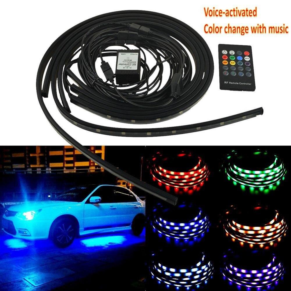 4 Pcs 12 V De Voiture RGB LED DRL Strip Light Car Auto À Distance contrôle Décoratif Flexible LED Bande Atmosphère Lampe Kit Brouillard Lampe 3 taille