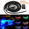 4Pcs 12V Car RGB LED DRL Strip Light Car Auto Remote Control Decorative Flexible LED Strip