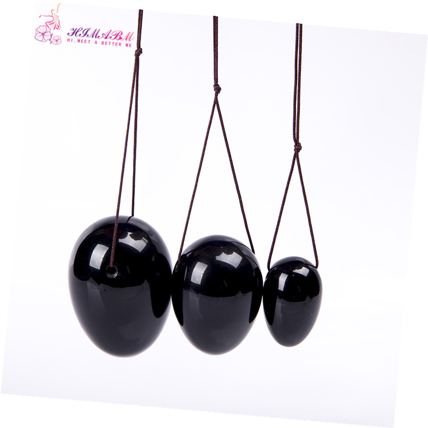 HIMABM 1 set = 3 pcs natural black obsidian egg for kegel exercise pelvic floor muscles vaginal exercise yoni egg ben wa ball