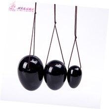 1 set = 3 pcs 1 set natural black obsidian egg for kegel exercise pelvic floor muscles vaginal exercise yoni egg ben wa ball