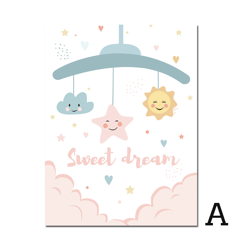 Nordic Style Kids Decoration Cute Cartoon Elephant Posters And Prints Moon Canvas Art Painting Nursery Baby Room Decor Unframed In