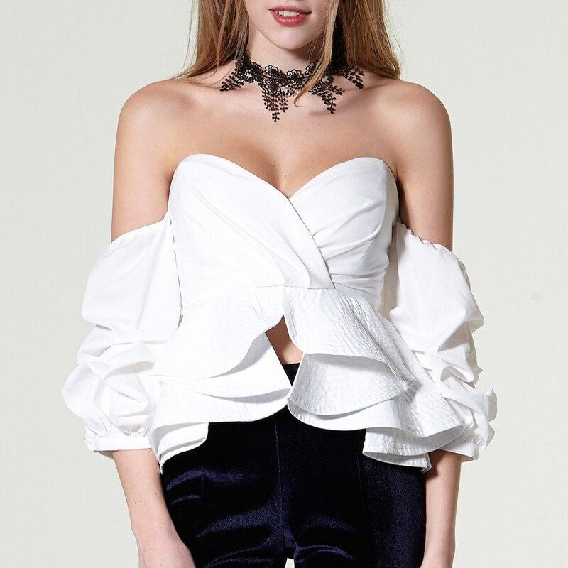 Bretelles Noir blouse Top Manches blanc Puff Encolure Femme Sexy Cou D'été Femmes Crop Slash Blanc Blouse Noire Tunique Chemise 2019 FUfZqvf