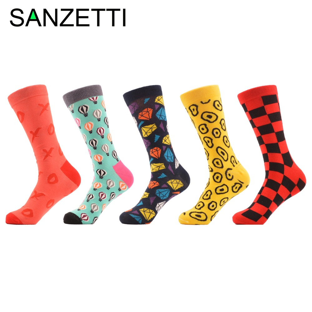 SANZETTI 5 pairs/lot Mens Novelty Combed Cotton Socks Funny Crazy Party Casual Socks Winter Dress Sock for Christmas Gift