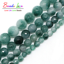 Wholesale Faceted Green Chalcedony Stone Round Beads For Jewelry Making 4mm 6mm 8mm 10mm 12mm 15inches DIY Jewellery F00491