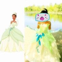 Custom made fantasia halloween kobiety wedding party księżniczka tiana dress dorosłych księżniczka tiana cosplay kostium