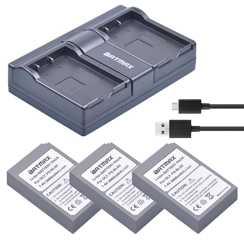 3Pc PS-BLS5 BLS-5 BLS5 BLS 5 BLS-50 Battery +Dual USB Charger for Olympus OM-D E-M10, PEN E-PL2, E-PL5, E-PL6, E-PM2, Stylus 1