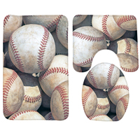 3PCS Baseball Bathroom Mat Set Baseballs Sports Pattern Bathroom Rug Anti Slip Bath Mat Bathroom Products
