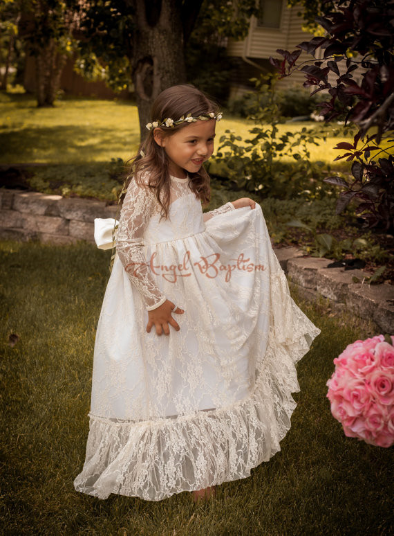 Cute Haute Couture sheer Jewel neckline Long Sleeves White/Ivory Lace Tulle A-line Tutu Flower Girl Dress Party Birthday Pageant все цены