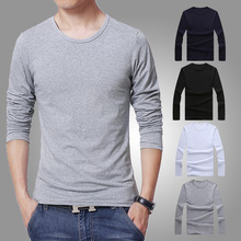 Men s Wear Long sleeve Round Collar Men T shirts Solid White Grey Black o neck