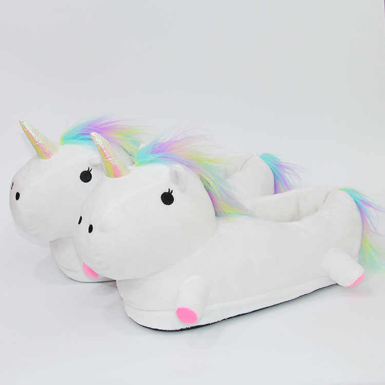 d2ecf5b2aa44 ... Beautiful Unicorn Plush Indoor Slippers Adults Kids Children Autumn  Winter Home Slippers White Pink Unicorn Slippers ...