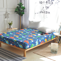 1pcs 100% Cotton Cartoon Color Dinosaurs Pattern Fitted Sheet Stripe Mattress Cover Four Corners With Elastic Band Bed Sheet