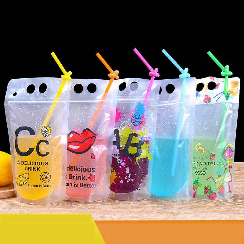 100 Pack New Design 7Style 450ML Plastic Drink Packaging Bag Pouch for Beverage Juice Milk Coffeewith Handle and Holes for Straw