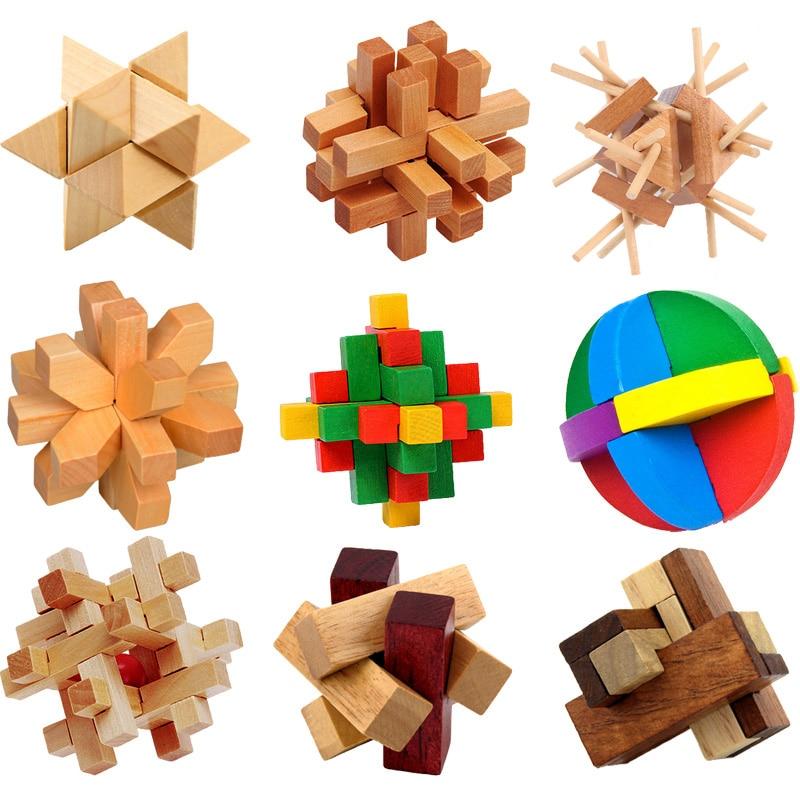 Kong Ming Luban Lock Čínská tradiční hračka Unikátní 3D dřevěné hádanky Klasická intelektuální dřevěná kostka Vzdělávací hračka Set