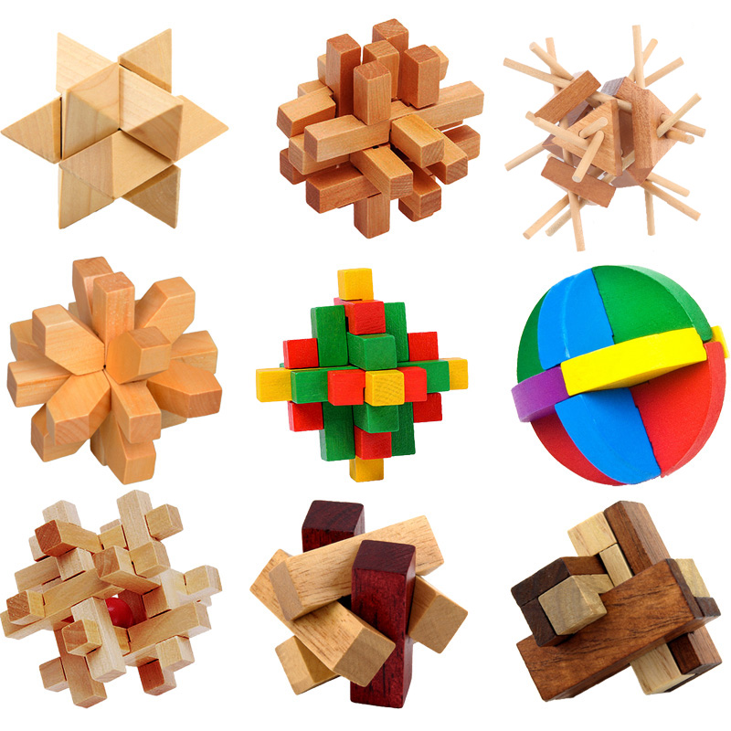 Kong Ming Luban Mengunci Mainan Tradisional Cina Unik 3D Puzzle Kayu Klasik Intelektual Kayu Cube Pendidikan Toy Set