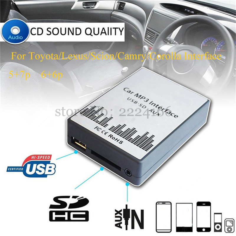 Adaptateur de lecteur de musique MP3 de voiture SD AUX USB lonbond pour Toyota Lexus Scion Camry Corolla Interface 6 + 6Pin 5 + 7Pin