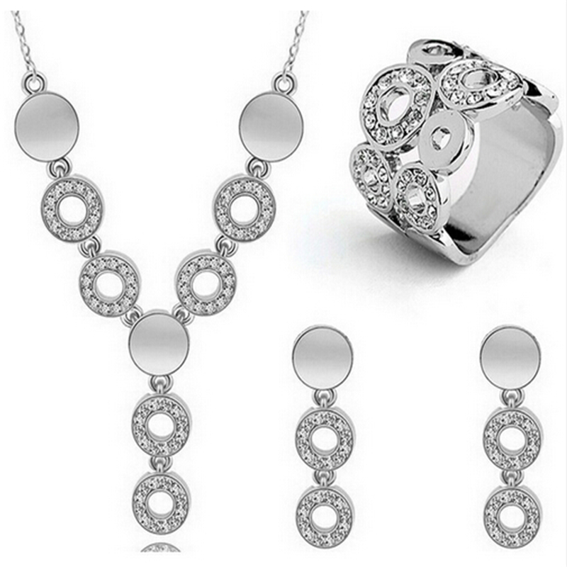 Wedding-Jewelry-Sets Earrings-Ring Pendants Necklace Rhinestone Bridal-Fine-Gifts Silver