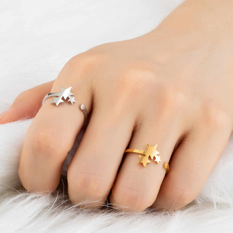 2018 New Fashion Three Star Knuckle Rings For Women Vintage Geometric Golden Silver Rings Set Party Bohemian Ring Jewelry Gifts